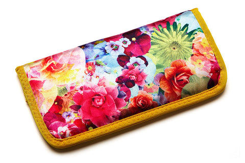 Floral Padded Sunglass Case - Magenta - w/ Yellow Lining - Accessories