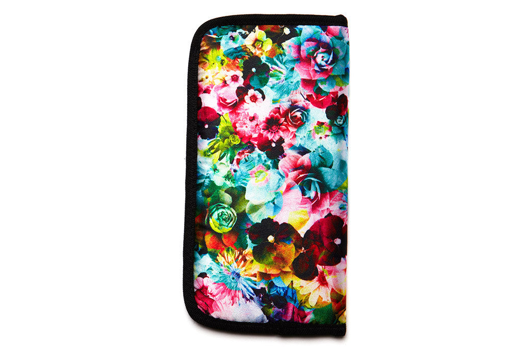 Floral Padded Sunglass Case - Teal - w/ Black Lining - Accessories