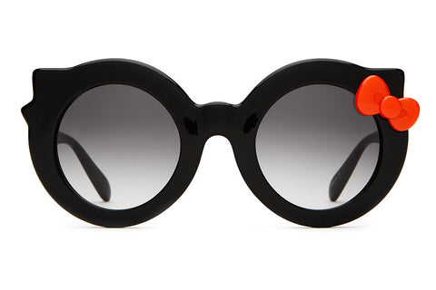 The Hanoi Weekend - Hello Kitty Gloss Black & Red Bow - w/ Grey Gradient CR-39 Lenses - Sunglasses