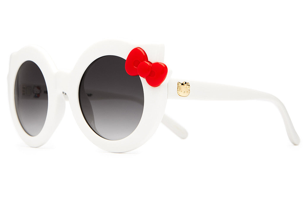 The Hanoi Weekend - Hello Kitty Gloss White & Red Bow - w/ Grey Gradient CR-39 Lenses - Sunglasses