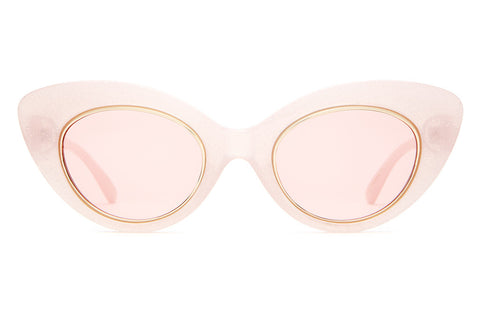 The Wild Gift - Hello Kitty Milky Pink Glitter - w/ Gold Wire Wrapped Pink Tint CR-39 Lenses - Sunglasses