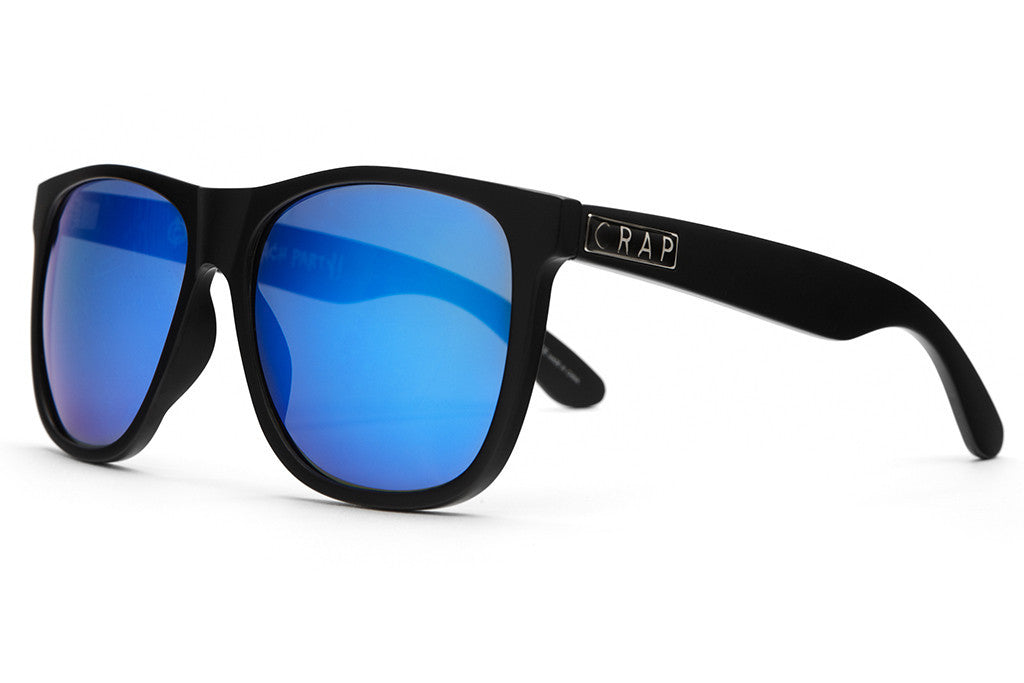 The Beach Party - Flat Black - w/ Reflective Blue Lenses - Sunglasses