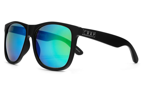 The Beach Party - Flat Black - w/ Reflective Green Lenses - Sunglasses