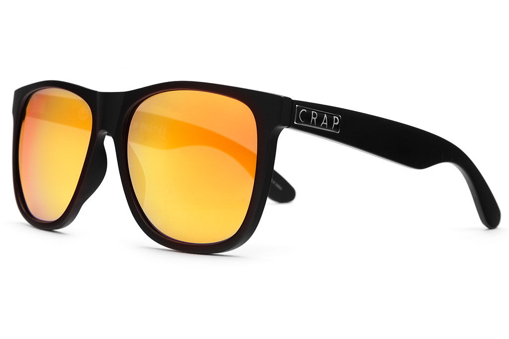 The Beach Party - Flat Black - w/ Reflective Orange Lenses - Sunglasses