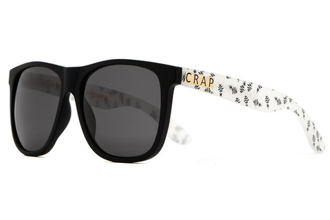 The Beach Party - Flat Black Fronts & Matte Translucent Black Pineapple Stems - w/ Grey CR-39 Lenses - Sunglasses