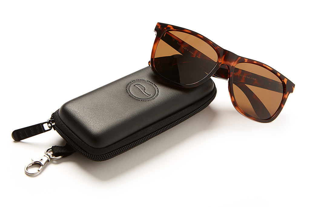 The Beach Party - Gloss Brown Tortoise - w/ Polarized Amber Lenses - Sunglasses