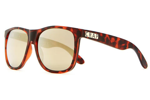 The Beach Party - Matte Brown Tortoise - w/ Gold Mirror Lenses - Sunglasses