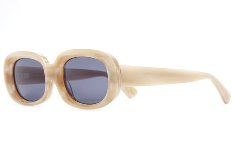 The Bikini Vision - Jared Mell Gloss Bone White Acetate - w/ Vintage Blue CR-39 Lenses - Sunglasses