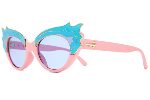 The Wild Gift - CHERRY GLAZERR Gloss Apocalipstick Pink & Blue Flames - w/ Light Blue Tint CR-39 Lenses - Sunglasses