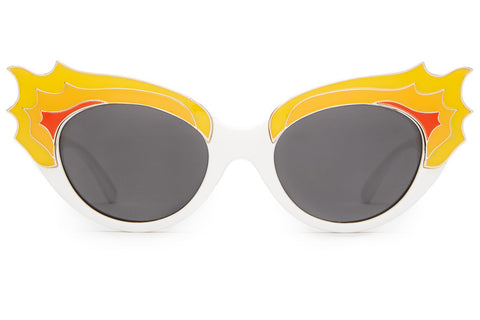 The Wild Gift - CHERRY GLAZERR Gloss White & Orange Flames - w/ Grey CR-39 Lenses - Sunglasses
