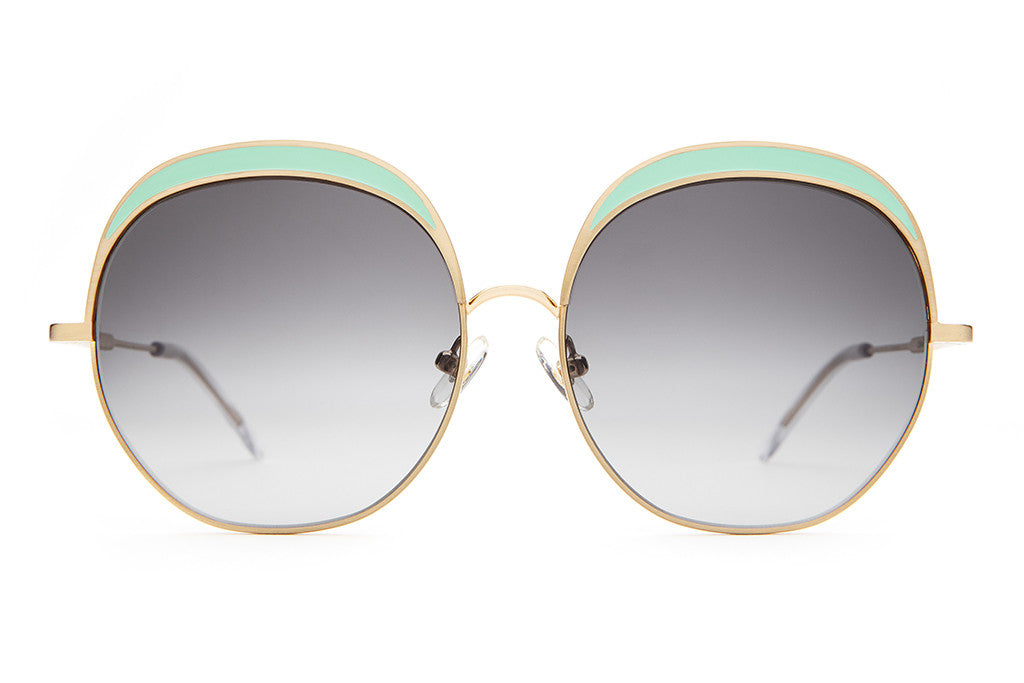 The Cloud Magic - Brushed Gold Wire & Seafoam Enamel Inlay - w/ Grey Gradient CR-39 Lenses - Sunglasses