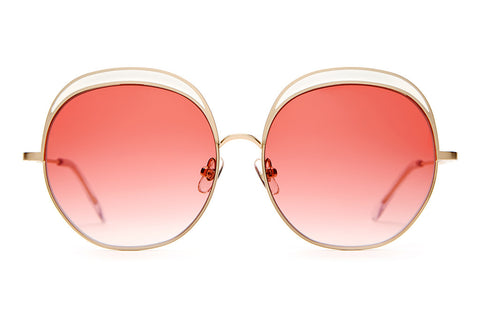 The Cloud Magic - Brushed Gold Wire & White Enamel Inlay - w/ Rose Gradient CR-39 Lenses - Sunglasses