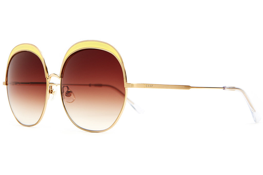 The Cloud Magic - Brushed Gold Wire & Yellow Enamel Inlay - w/ Amber Gradient CR-39 Lenses - Sunglasses