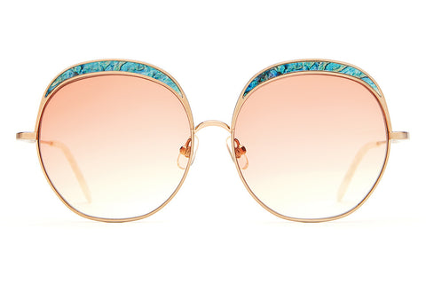 The Cloud Magic - Brushed Rose Gold Wire & Abalone Enamel Inlay - w/ Peach Gradient CR-39 Lenses - Sunglasses