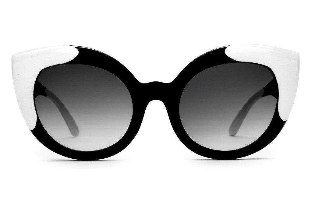 The Diamond Brunch - Gloss Black & White Tips - w/ Grey Gradient CR-39 Lenses - Sunglasses
