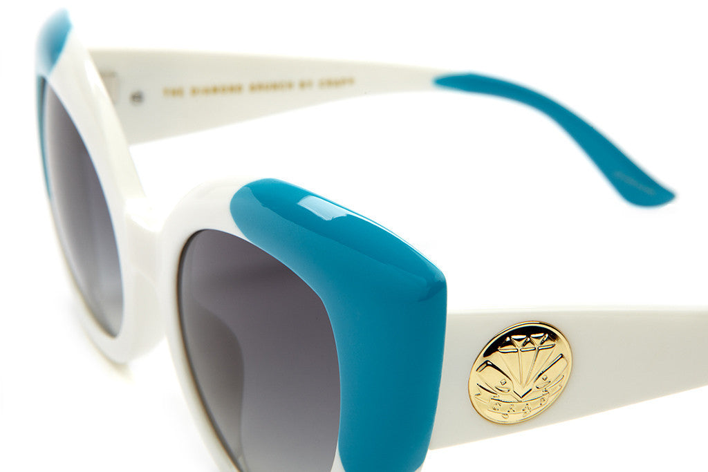 The Diamond Brunch - Gloss White & Blue Tips - w/ Grey Gradient CR-39 Lenses - Sunglasses
