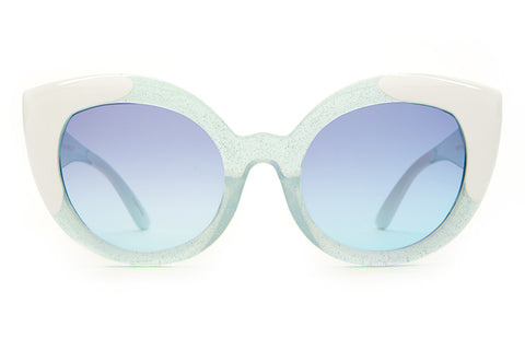 The Diamond Brunch - Semitranslucent Sky Blue Glitter & White Tips - w/ Blue Gradient CR-39 Lenses - Sunglasses