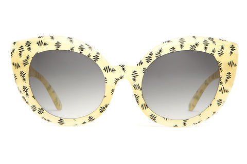 The Diamond Brunch - Semitranslucent Yellow & Black Pineapple Print - w/ Grey Gradient CR-39 Lenses - Sunglasses