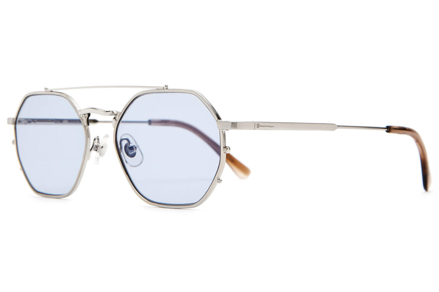 The Jazz Safari - Brushed Silver & Dust Demi Tortoise - / Light Blue - Sunglasses