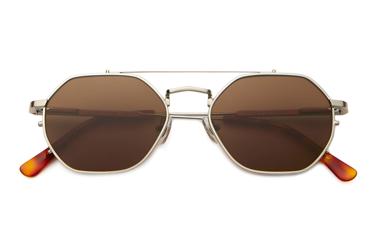 The Jazz Safari - Brushed Silver & Havana Tortoise - / Amber - Sunglasses
