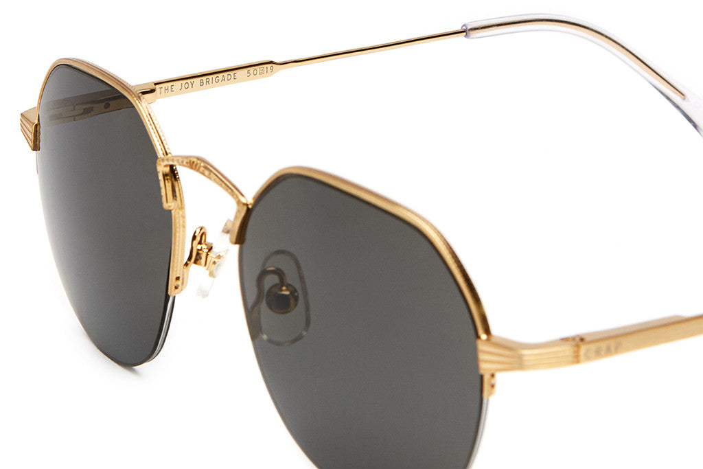 The Joy Brigade - Brushed Gold Wire & Gloss Crystal Clear Tips - w/ Polarized Grey Nylon Lenses - Sunglasses