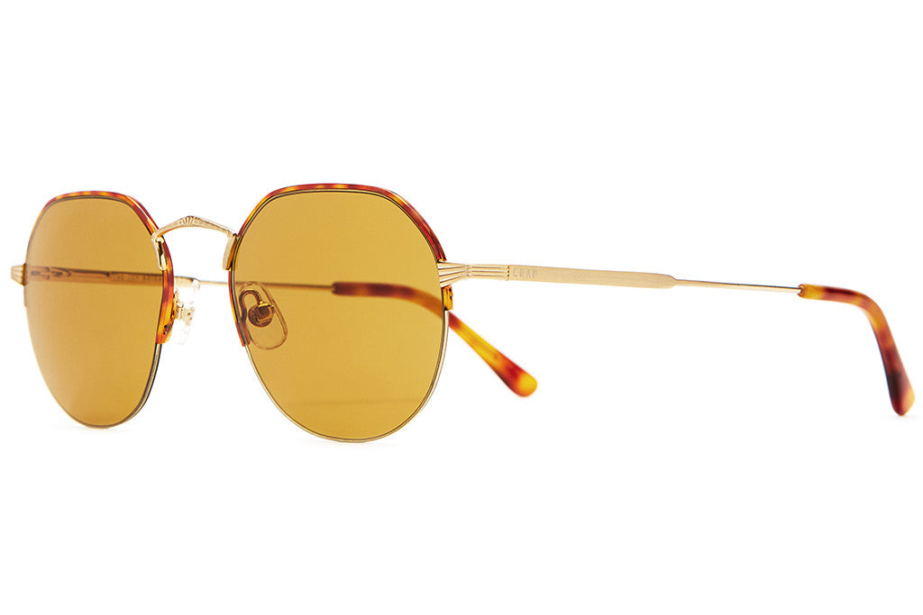 The Joy Brigade - Havana Tortoise Rims & Brushed Gold Wire - w/ Mustard Nylon Lenses - Sunglasses