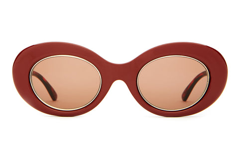 The Love Tempo - Gloss Oxblood & Brown Tortoise & Gold Wire Wrap - w/ Amber CR-39 Lenses - Sunglasses