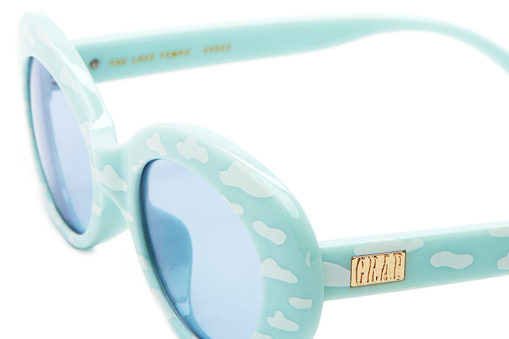 The Love Tempo - Gloss Sky Blue & White Clouds - w/ Light Blue CR-39 Lenses - Sunglasses