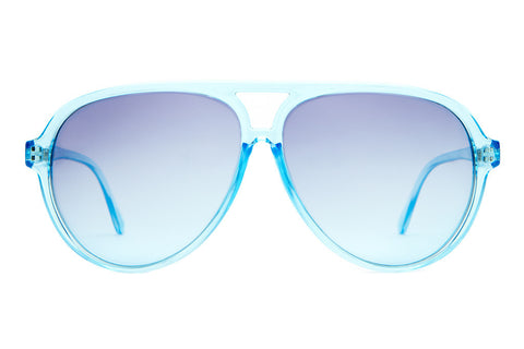 The Nite Shift - Crystal Blue - w/ Blue Gradient CR-39 Lenses - Sunglasses