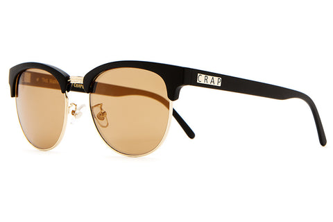 The Nudie Club - Flat Black & Gold Wire - w/ Bronze Mirror Lenses - Sunglasses
