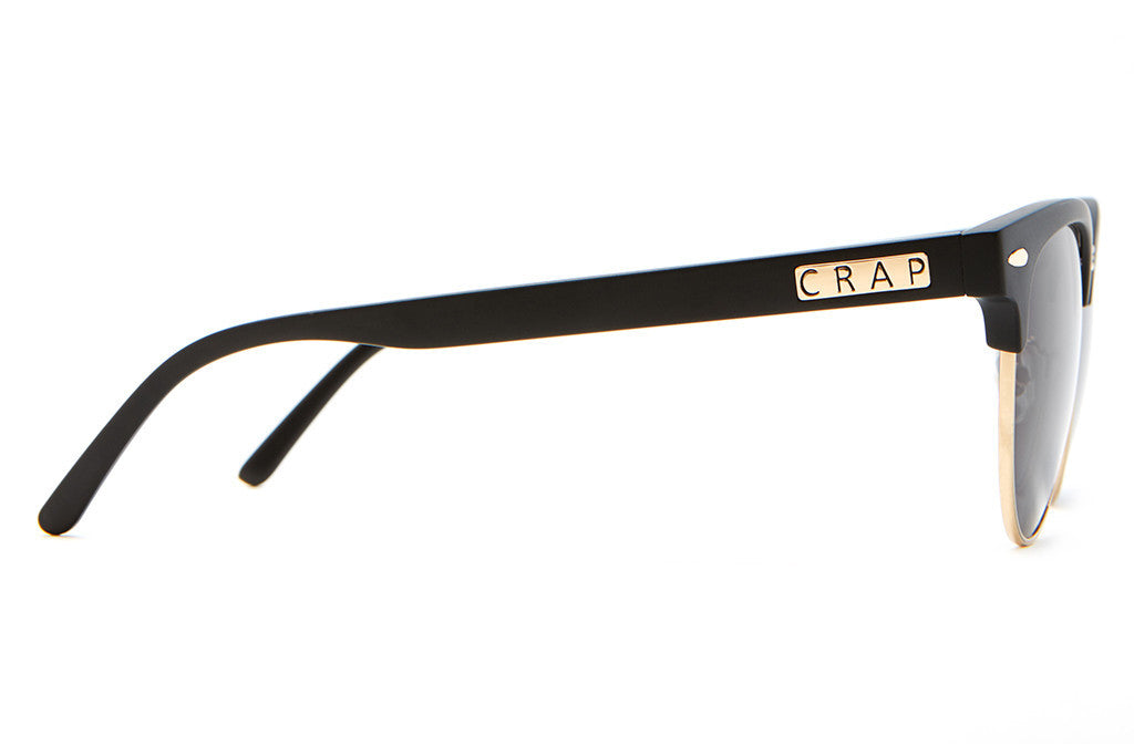 The Nudie Club - Flat Black & Gold Brow Accents - w/ Grey CR-39 Lenses - Sunglasses