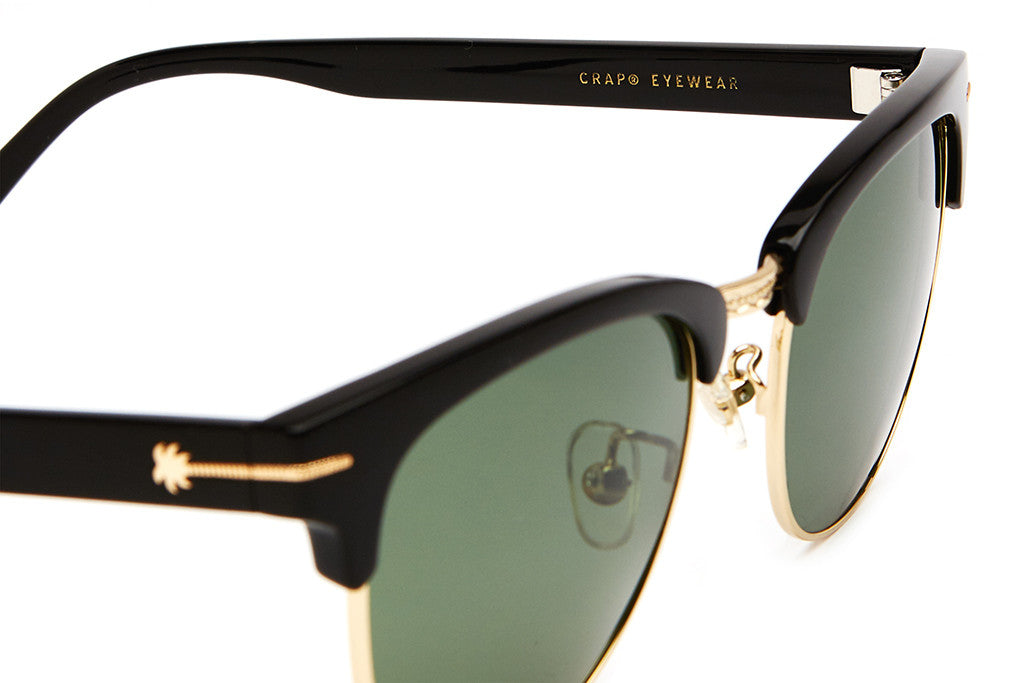 The Nudie Club - Gloss Black & Gold Palm Accents - w/ Polarized G15 Lenses - Sunglasses