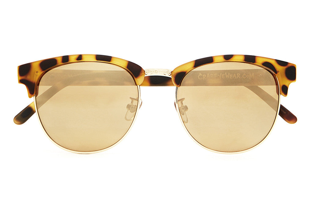 The Nudie Club - Matte Jungle Tortoise & Gold Wire - w/ Gold Mirror Lenses - Sunglasses
