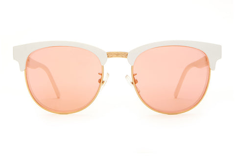 The Nudie Club - Matte White - w/ Rose Gold Mirror Lenses - Sunglasses