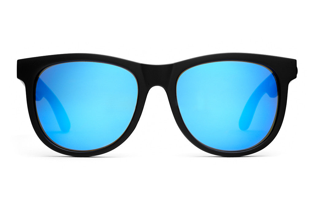 The Nudie Mag - Flat Black - w/ Reflective Blue Lenses - Sunglasses