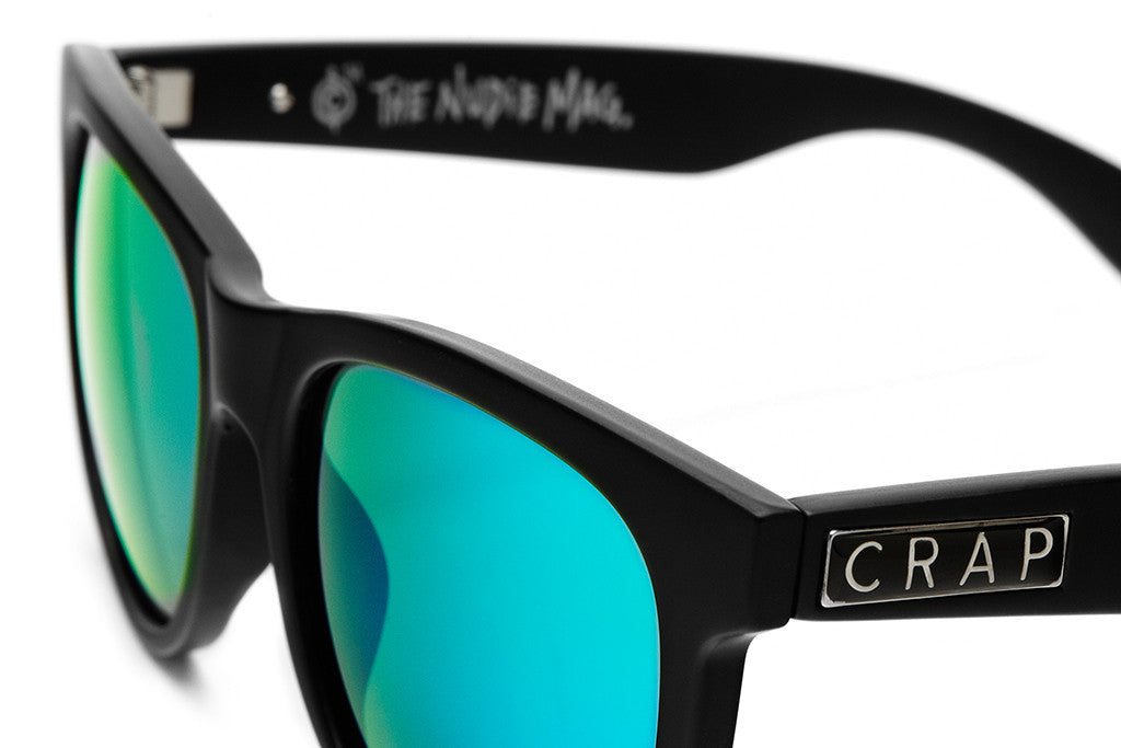 The Nudie Mag - Flat Black - w/ Reflective Green Lenses - Sunglasses