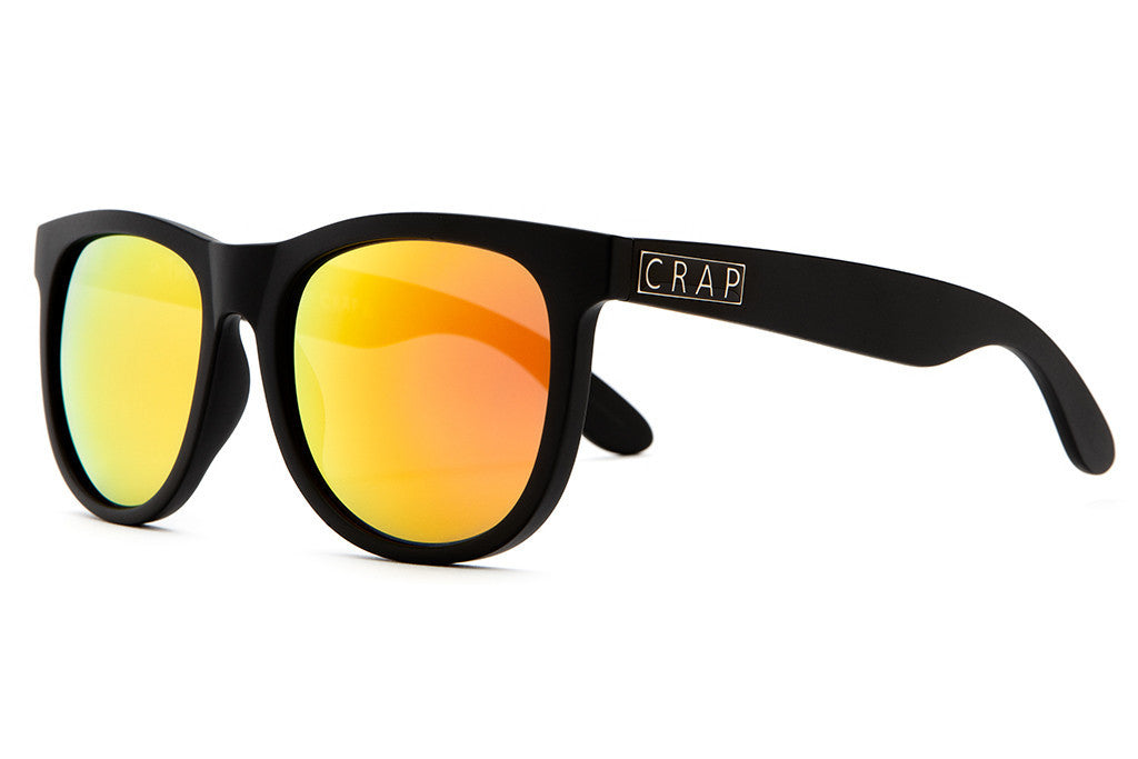 The Nudie Mag - Flat Black - w/ Reflective Orange Lenses - Sunglasses