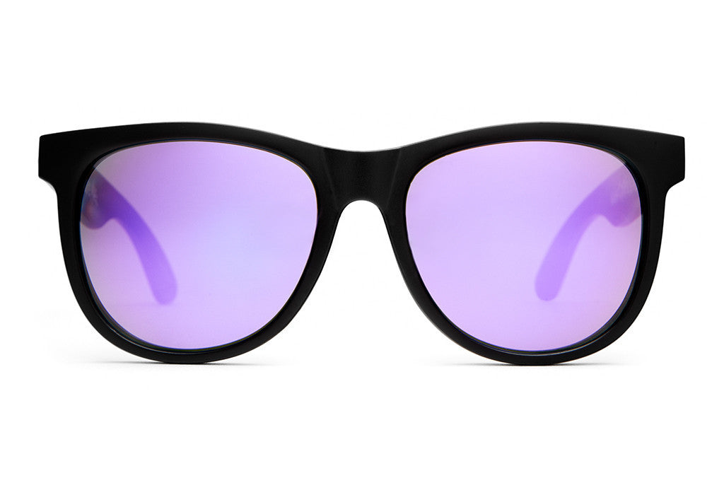 The Nudie Mag - Flat Black - w/ Reflective Purple Lenses - Sunglasses