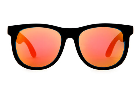 The Nudie Mag - Flat Black - w/ Reflective Red Lenses - Sunglasses