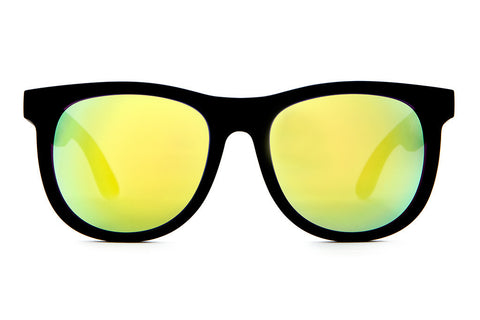 The Nudie Mag - Flat Black - w/ Reflective Yellow Lenses - Sunglasses