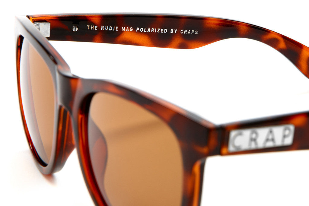 The Nudie Mag - Gloss Brown Tortoise - w/ Polarized Amber Lenses - Sunglasses