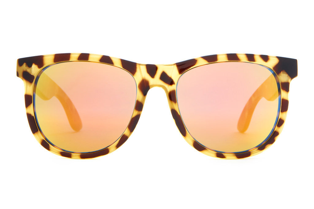 The Nudie Mag - Gloss Jungle Tortoise - w/ Reflective Orange Lenses - Sunglasses
