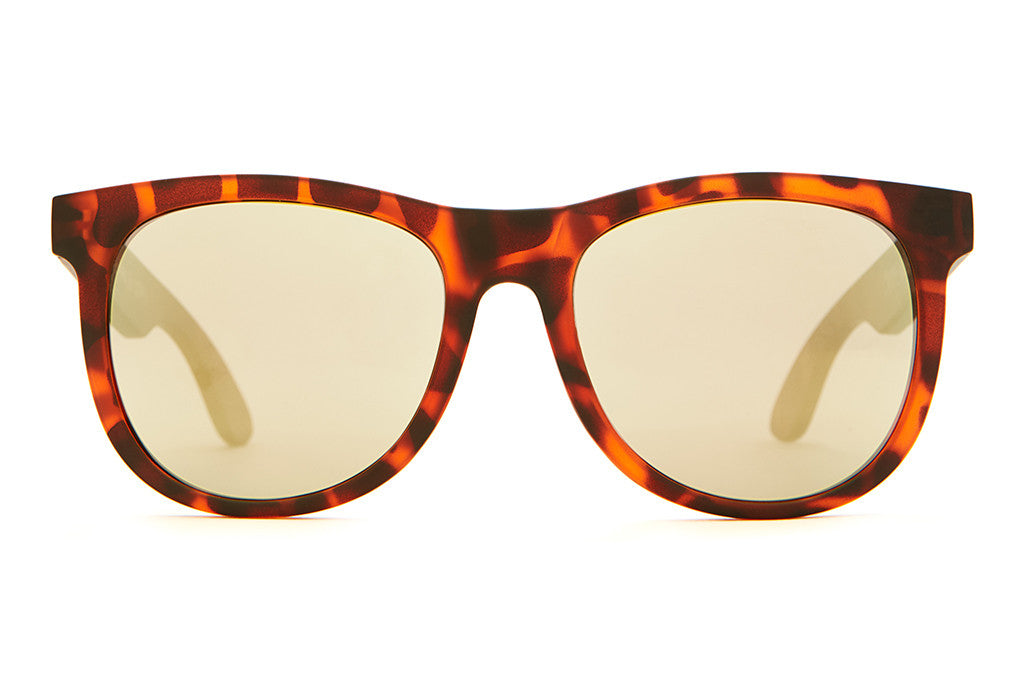 The Nudie Mag - Matte Brown Tortoise - w/ Gold Mirror Lenses - Sunglasses