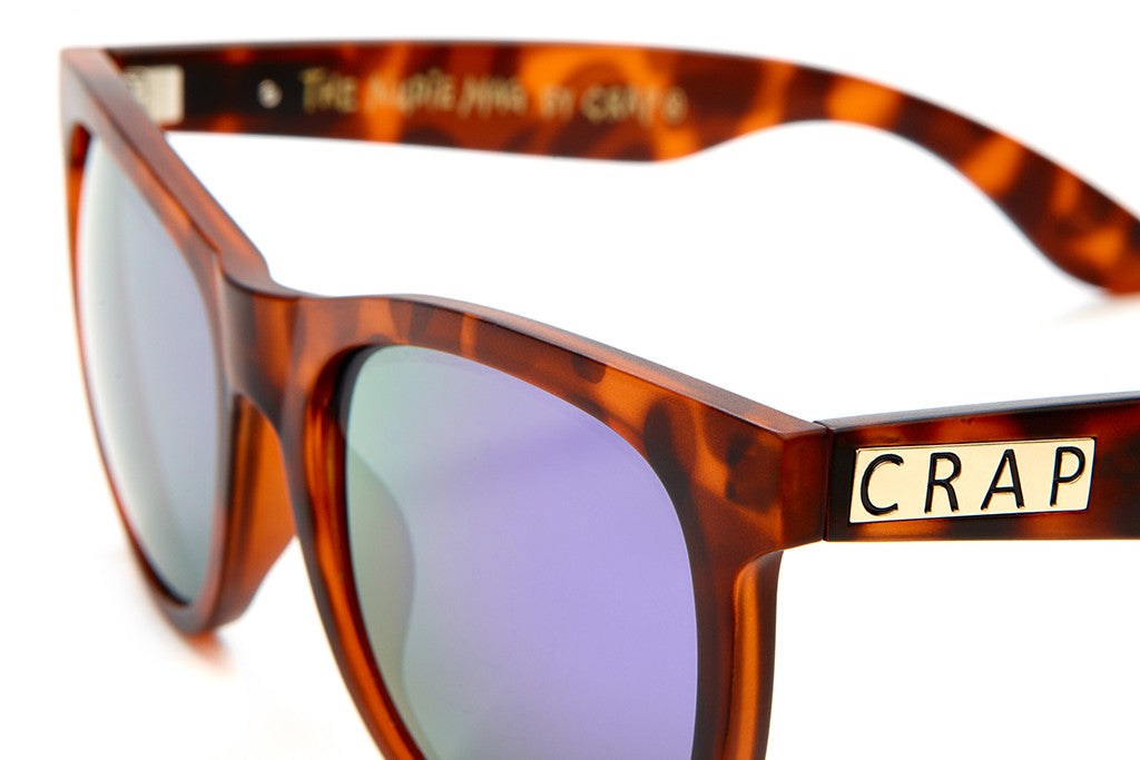 The Nudie Mag - Matte Brown Tortoise - w/ Reflective Purple Lenses - Sunglasses