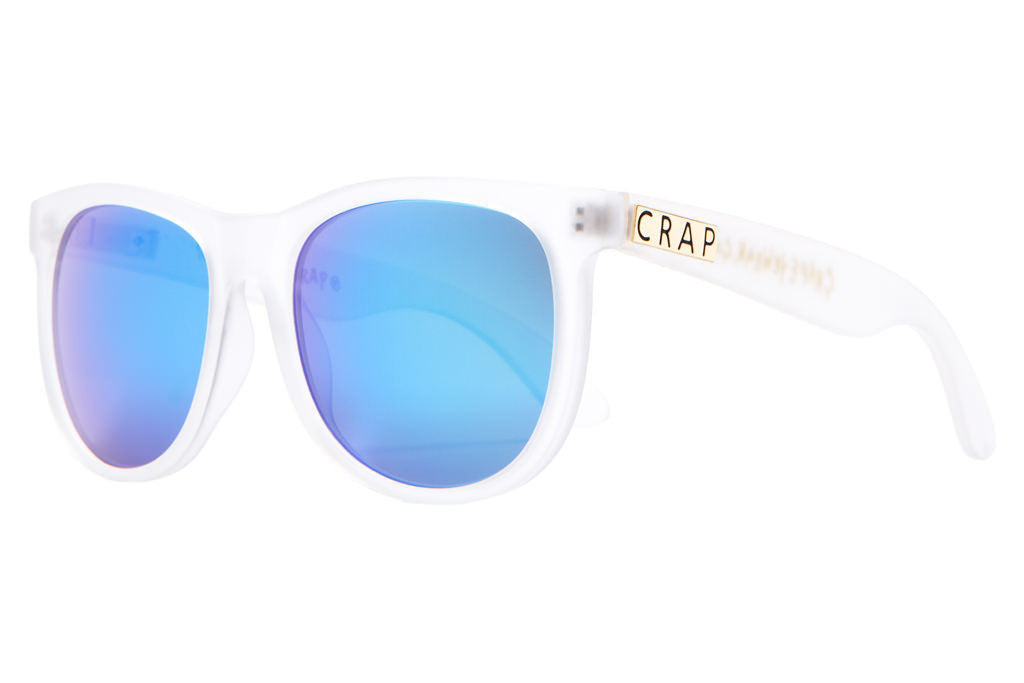 The Nudie Mag - Matte Semitranslucent - w/ Reflective Blue Lenses - Sunglasses