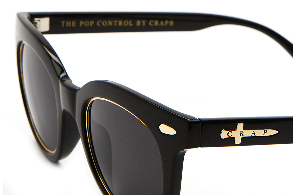 The Pop Control - Gloss Black & Gold Brow Accents - w/ Gold Wrapped Grey CR-39 Lenses - Sunglasses