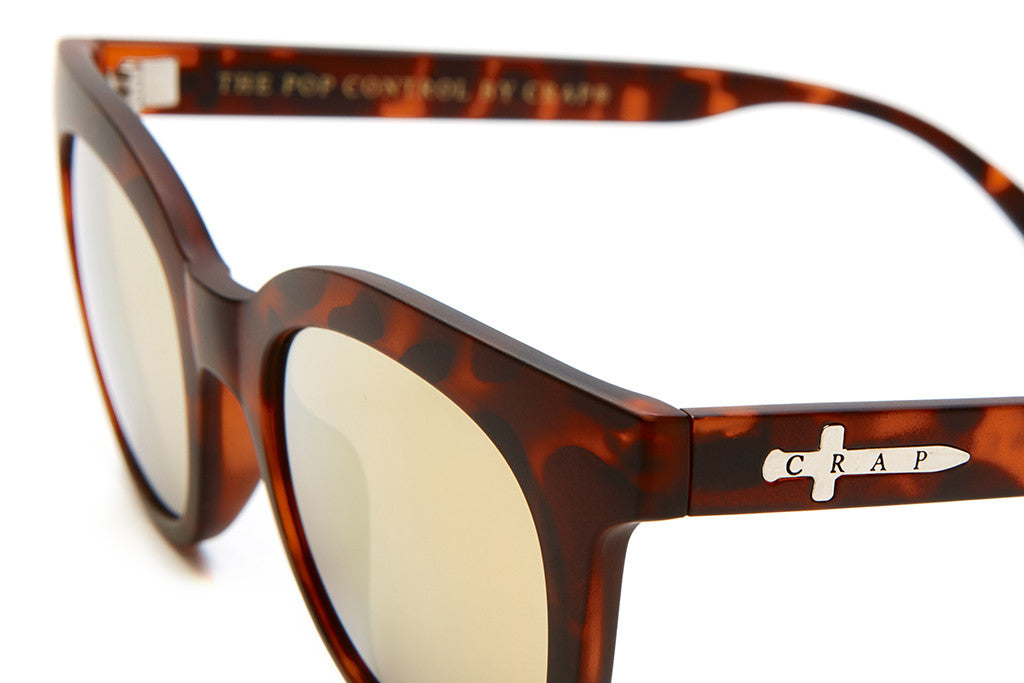 The Pop Control - Matte Brown Tortoise - w/ Gold Mirror Lenses - Sunglasses
