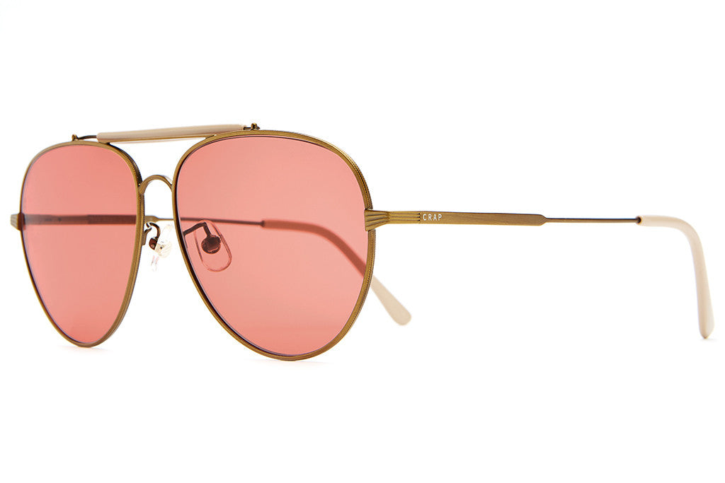 The Road Crue - Antique Gold Wire, Gloss Khaki Brow & Tips - w/ Deep Rose CR-39 Lenses - Sunglasses