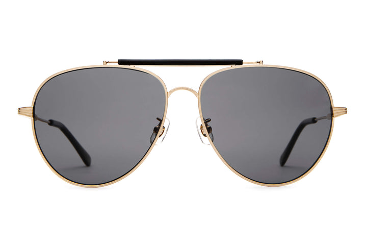 The Road Crue - Brushed Gold & Black - / Polarized Grey - Sunglasses