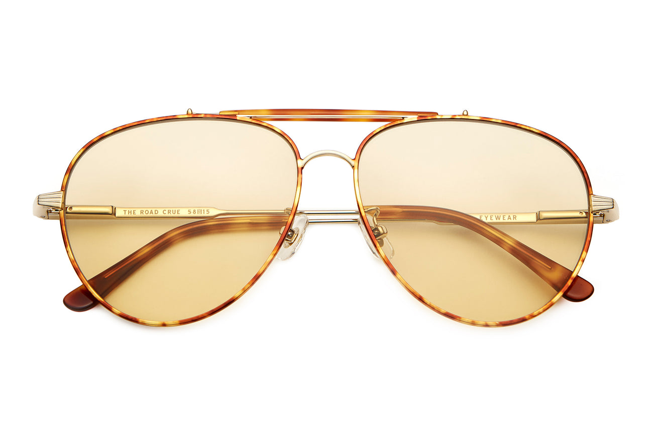 The Road Crue - Brushed Gold & Havana Tortoise - / Gold Tint - Sunglasses